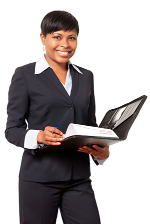 African American Businesswoman on White